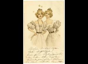 AK Jugendstil Frauen Mädchen Mode Zwillinge Fantasie 1900 (2936