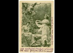 AK Jugendstil Frauen Engel Traum Fantasie Herz 1901 (2941