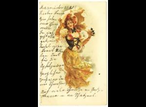 AK Jugendstil Frau im Wind Mode Fantasie 1905 (2942