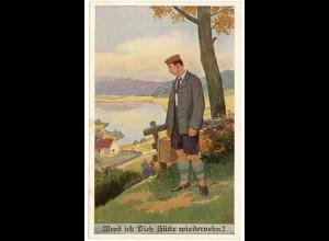 AK Kunstkarte Kriegskarte Werd ich Dich Hütte wiedersehen? 1917 (2950