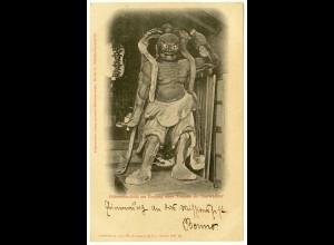 AK Lichtdruck Götzenstandbild Eingang eines Tempels als Thorwächter 1901