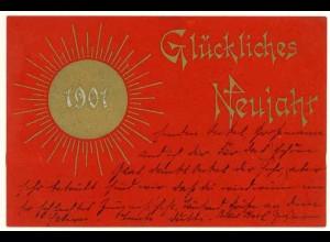 AK Glückliches Neujahr 1901 in rot Golddruck (2961