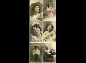 AK 6 Stück Frauen Mädchen Mode Jugendstil Blumen (2987