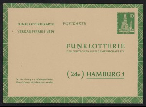 Berlin Funklotterie Postkarte FP5 ungebraucht 1957 (20198