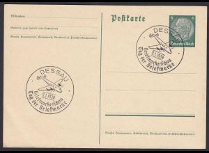 Dessau 9.1.1938 Sonderstempel Tag der Briefmarke auf Ganzsache (20211
