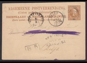 Niederländisch Indien Ganzsache 5 Cent 1880 nach Delft (20213