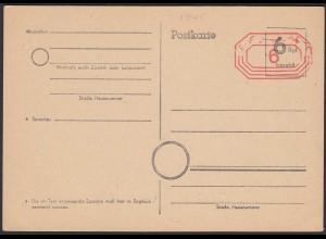 Behelfspostkarte 6 Rpg. und 6 Freistempel 1945 ungebraucht Westzonen (20225