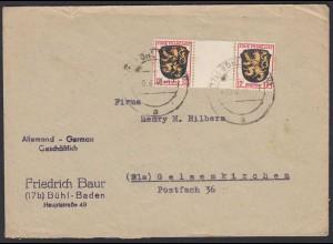 Französische Zone Mi. Nr.6 Zwischensteg-Paar Umschlag Bühl n.Gelsenkirchen 1948