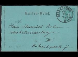Österreich - Austria Kartenbrief 1889 Alsergrund n. Weissgärber (20244