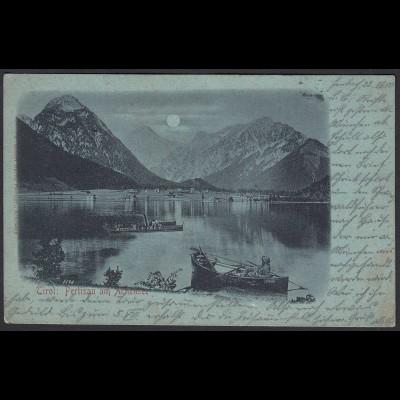 AK Österreich Mondschein Litho Pertisau am Achensee Tirol 1900 (20274