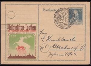 SBZ 1947 Dresden-Bad Weisser Hirsch Philatelistentag SST Sonderkarte