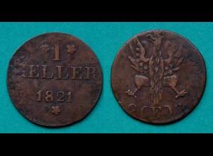 Frankfurt Altdeutsche Staaten 1 Heller 1821 G(F)B (20330