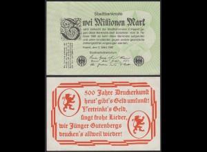 Kaarst - 2 Millionen Mark Stadtbanknote 1981 Stadtbankdirektorium :-) aUNC