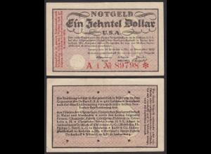 Biebrich 1/10 Dollar USA Banknote 1923 Wertbestaendiges Notgeld Starnote (20410