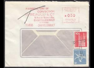 Umschlag v.Frankreich nach Schweiz mit Taxe Tax Nachtaxierung (20424