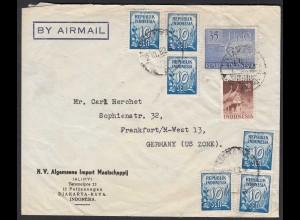 Djakarta/Indonesien 1952 Umschlag nach Frankfurt/M US Zone (20429