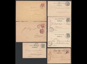 Württemberg 7 Stück Ganzsachen Postal Stationery ab 1877 gebraucht (20439