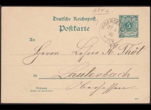 Moerlenbach Reichspost Ganzsache 1890 nach Lauterbach (20453
