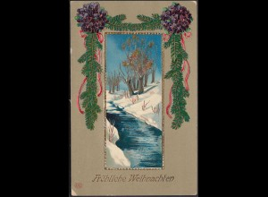 AK Fröhliche Weihnachten Prägedruck 1909 (20456
