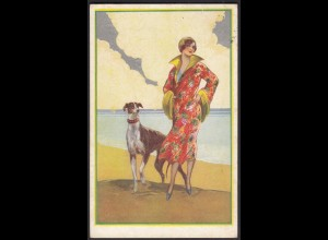 AK degami 2258 Kunstkarte Dame mit Wind-Hund 1926 (20481