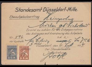 Ehe-Aufgebot-Antrag Standesamt Düsseldorf Mitte 1934 (20504