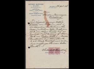 Italien - Milano Ankündigung Überweisung nach Düsseldorf 1928 (20506