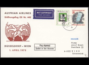 Austrian Airlines Düsseldorf-Wien OS 442 1975 Flug abgesagt (20515
