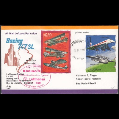 Lufthansa Erstflug LH 507 Montevideo-Sao Paulo-Rio-Frankfurt 1980 (20518