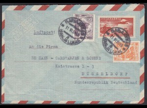 Jugoslawien 1956 Aerogramm m.Zusatzfrankatur nach Düsseldorf (20625