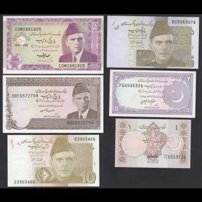 Pakistan - 6 verschiedene Banknoten UNC (20733