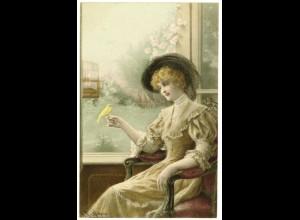 AK - R.R.v. Wichera Munk Wien Jugendstil Dame mit Vogel 1908 (2990