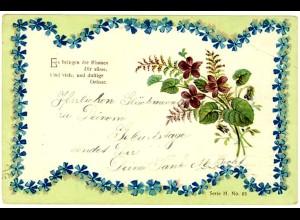 AK Blumen Prägedruck Spruch und Grusskarte 1912 (2846