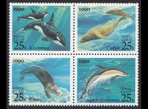Russia - 1990 Mi.6130-3 Marine Mammals Sea Lions Dolphins Otter Killer Whales