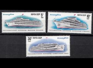 Russia - Soviet Union 1987 Mi.5714-16 Inland passenger ships, set (83027