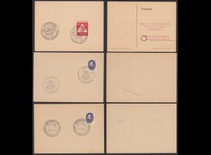 SBZ - DDR Dresden + Leipzig 3 Sonderstempel 1948 + 1950 selten (20790