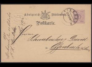 Württemberg - 5 Pfennig Ganzsachen-Karte Biberach nach Offenbach 1880 (20795