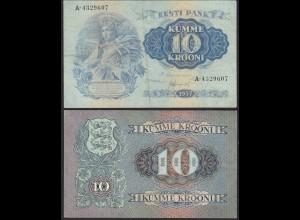 ESTONIA - EESTI - ESTLAND 10 Krooni Banknotes 1937 Pick 67a VF A-4329607 (13954