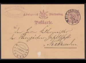 Württemberg - 5 Pfennig Ganzsachen-Karte Ravensburg nach Neckarsulm 1884