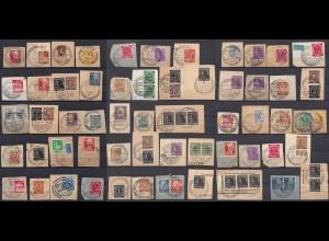 57 Stück Briefstücke meist nach 1945 Nachkrieg mit Sonder- Werbestempel