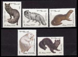 Russia - Soviet Union 1980 Mi.4968-72 Pelz-Tiere ** MNH set (83013