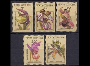 Russia - Soviet Union 1991 Mi. 6192-96 Orchideen Orchids MNH set (83015