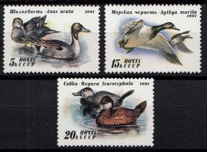 Russia - Soviet Union 1991 Mi.6210-12 Enten Vögel ** MNH set (83018