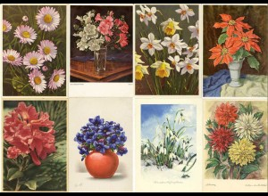 AK 8 Stück Ansichtskarten Blumen-Motive (2883