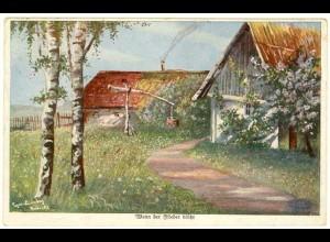 AK Kunstkarte E.Lindberg Wenn der Flieder blüht 1918 Feldpost (2903