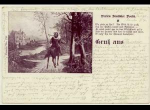 AK 1900 Jugendstil Perlen Deutscher Poesie Postreiter Gruss aus (2860