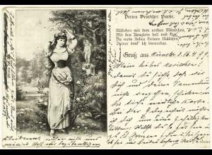 AK 1899 Jugendstil Perlen Deutscher Poesie Mädchen Gruss aus (2858