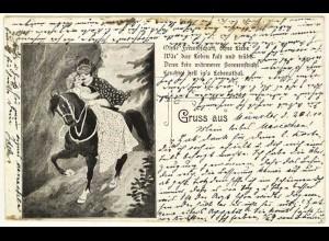 AK 1898 Jugendstil Gruss aus Münster Pferd Liebespaar Gedicht (2861