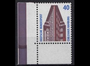 Bund BRD 1988 Mi. 1379 ** Eckrand UL LUXUS 40 Pfg. mit Nath (20821