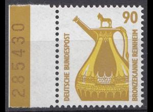 Bund BRD 1988 Mi. 1380 ** linker Rand mit Nr. LUXUS 90 Pfg. (20823