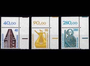 Bund BRD 1988 Mi. 1379-81 ** Eckrand OR LUXUS 40 90 280 Pfg. (20824